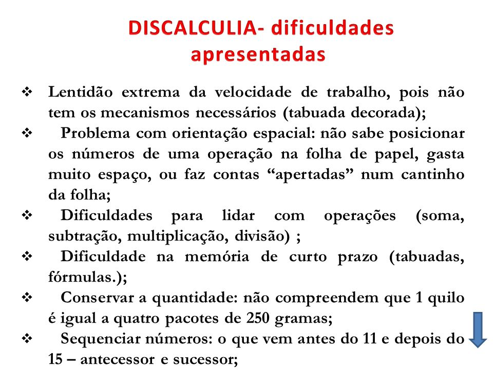 DISCALCULIA- dificuldades apresentadas