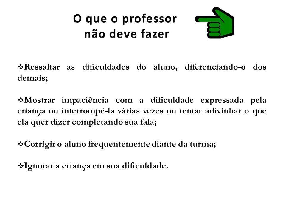 O que o professor não deve fazer