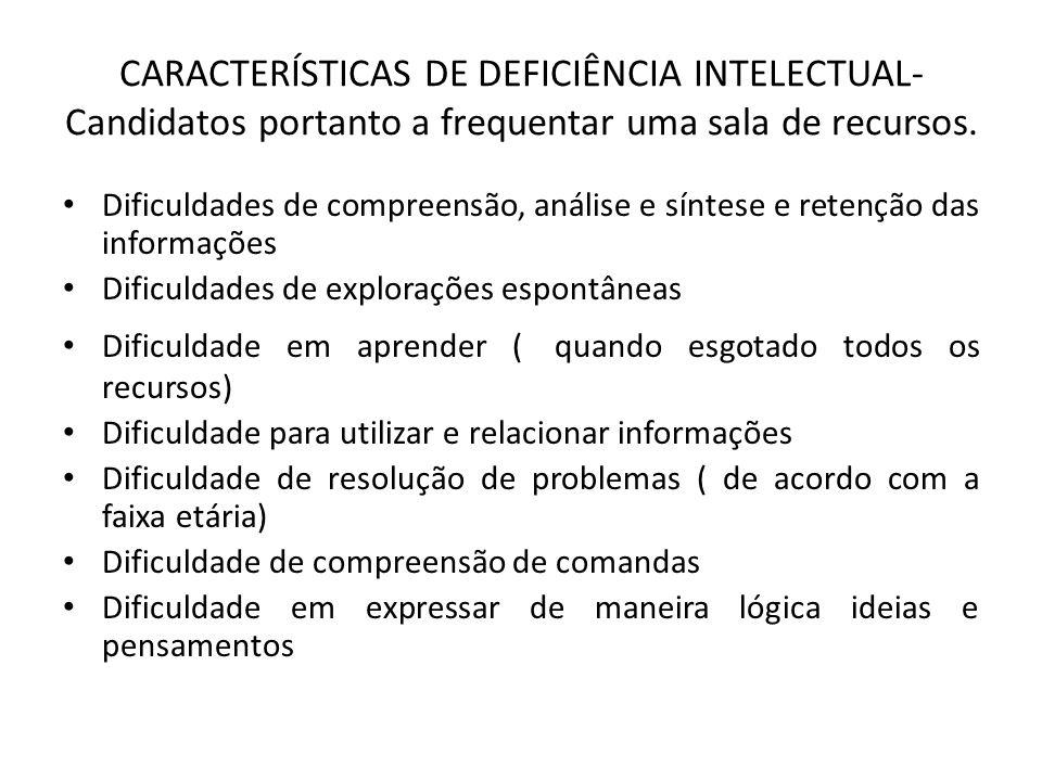 CARACTERÍSTICAS DE DEFICIÊNCIA INTELECTUAL- Candidatos portanto a frequentar uma sala de recursos.