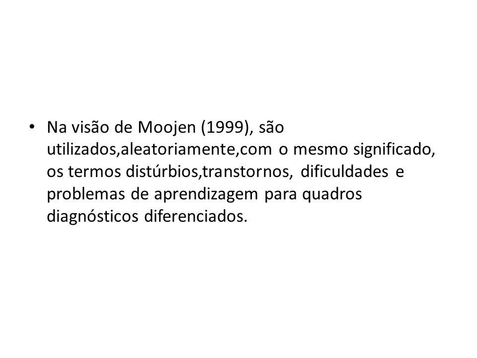 Na visão de Moojen (1999), são utilizados,aleatoriamente,com o mesmo significado, os termos distúrbios,transtornos, dificuldades e problemas de aprendizagem para quadros diagnósticos diferenciados.
