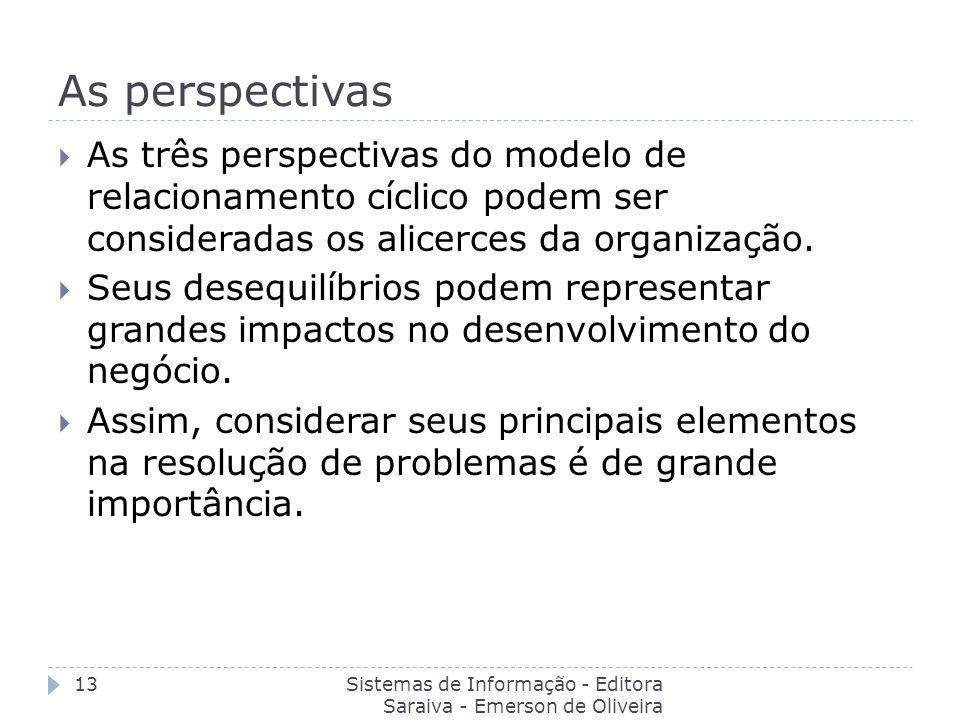 As perspectivas As três perspectivas do modelo de relacionamento cíclico podem ser consideradas os alicerces da organização.