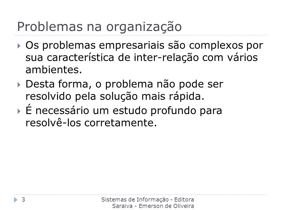 Problemas na organização