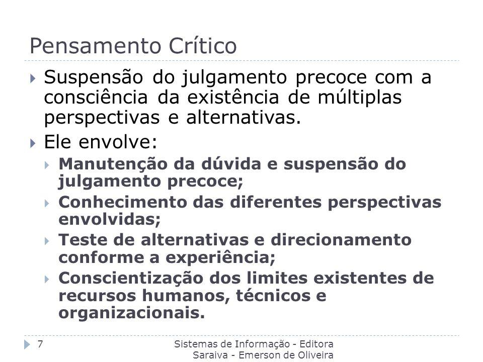 Pensamento Crítico Suspensão do julgamento precoce com a consciência da existência de múltiplas perspectivas e alternativas.