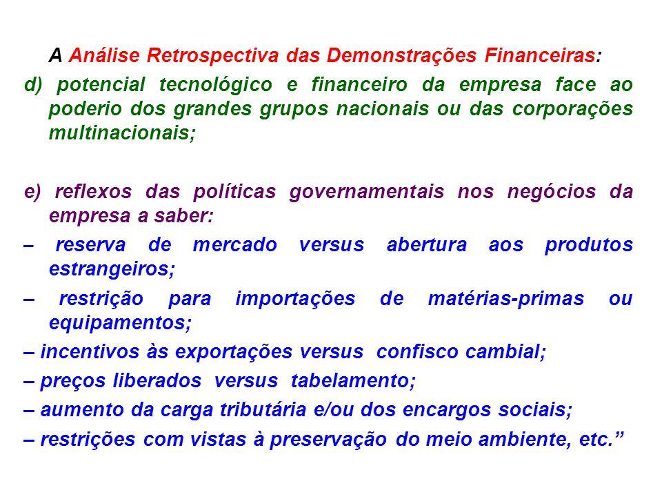A Análise Retrospectiva das Demonstrações Financeiras: