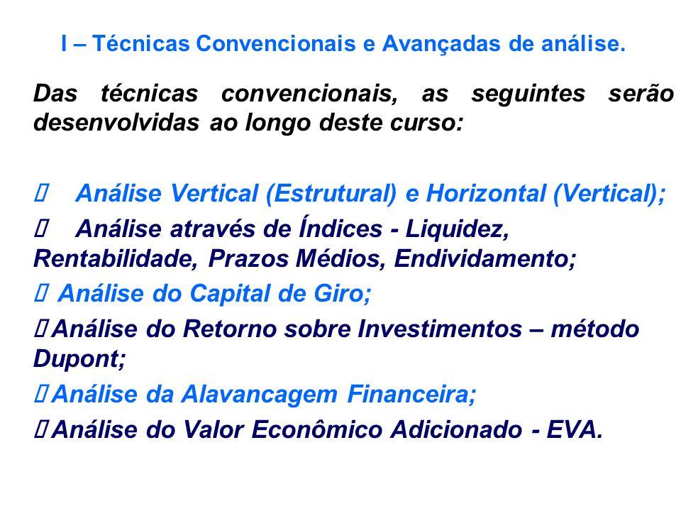 I – Técnicas Convencionais e Avançadas de análise.
