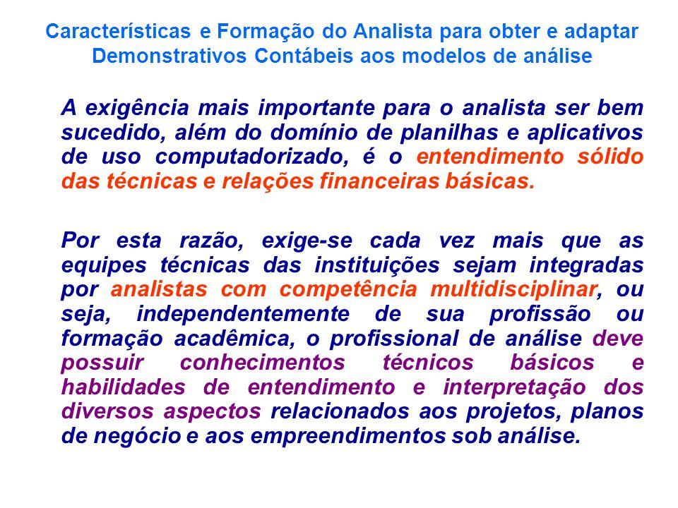 Características e Formação do Analista para obter e adaptar Demonstrativos Contábeis aos modelos de análise