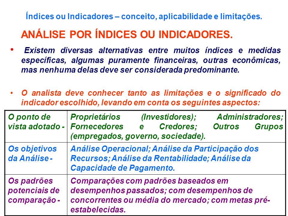 Índices ou Indicadores – conceito, aplicabilidade e limitações.