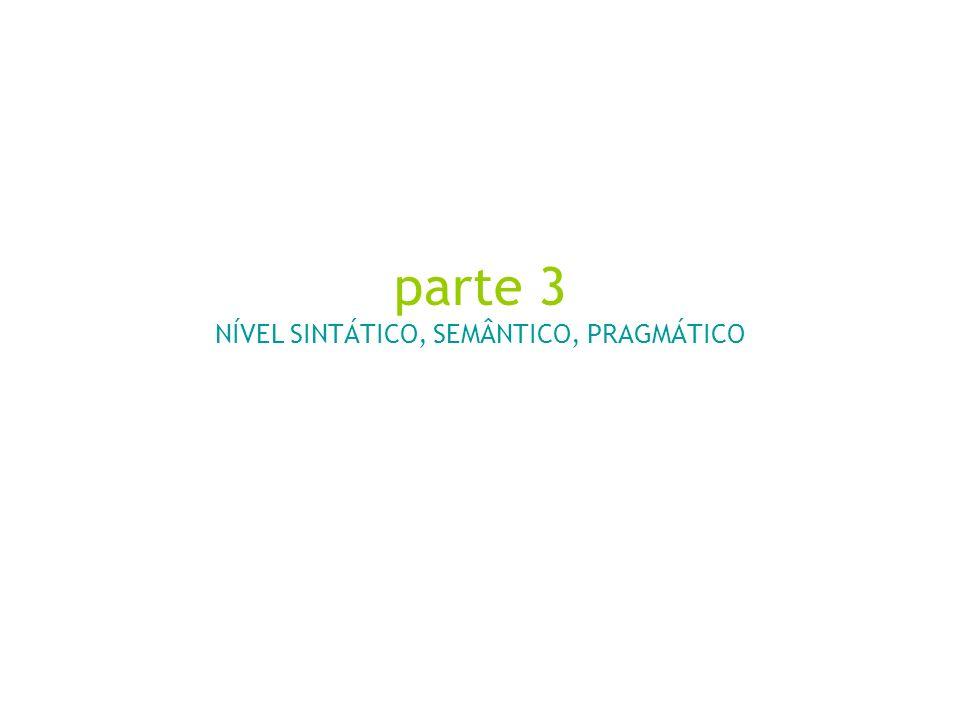 parte 3 NÍVEL SINTÁTICO, SEMÂNTICO, PRAGMÁTICO