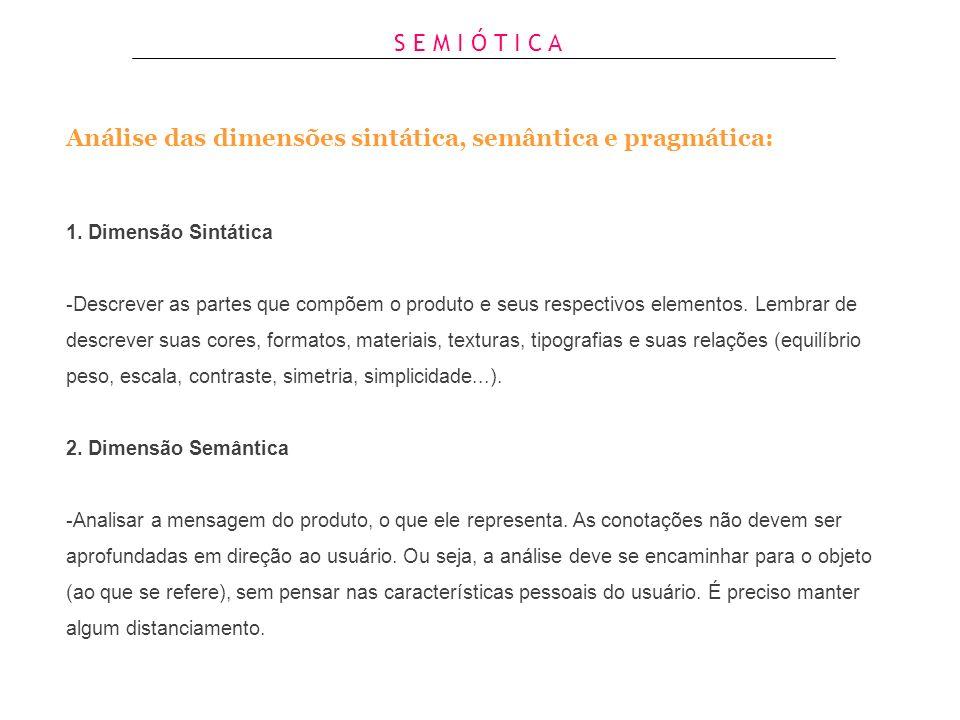 Análise das dimensões sintática, semântica e pragmática: