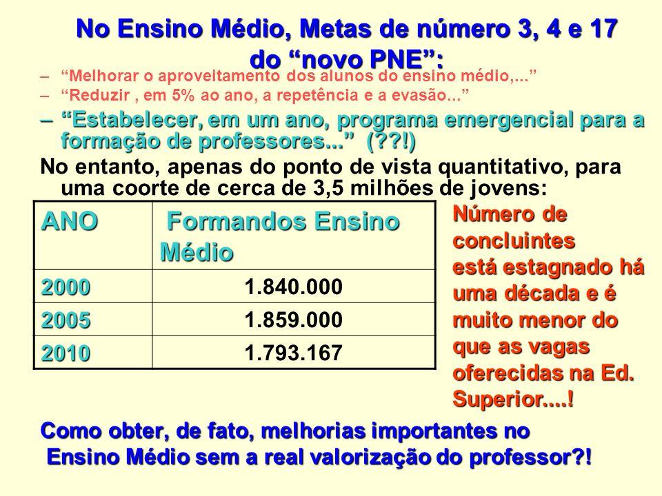 No Ensino Médio, Metas de número 3, 4 e 17 do novo PNE :