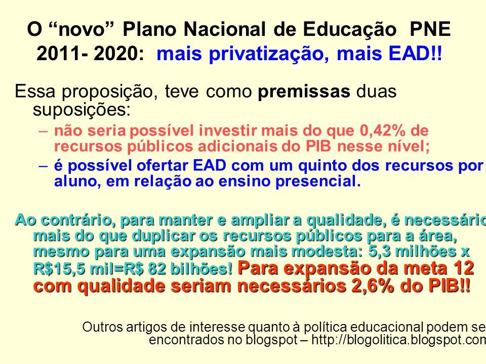 O novo Plano Nacional de Educação PNE 2011- 2020: mais privatização, mais EAD!!