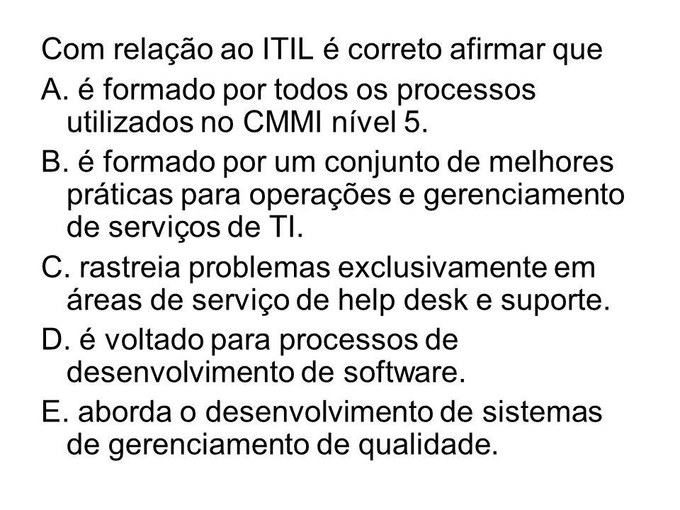 Com relação ao ITIL é correto afirmar que