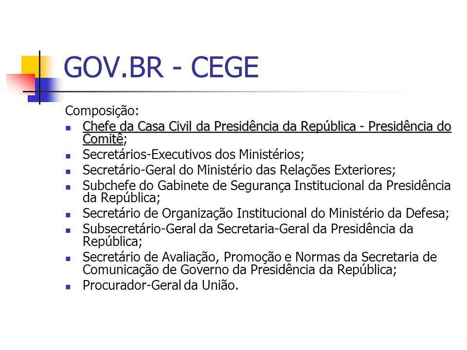 GOV.BR - CEGE Composição: