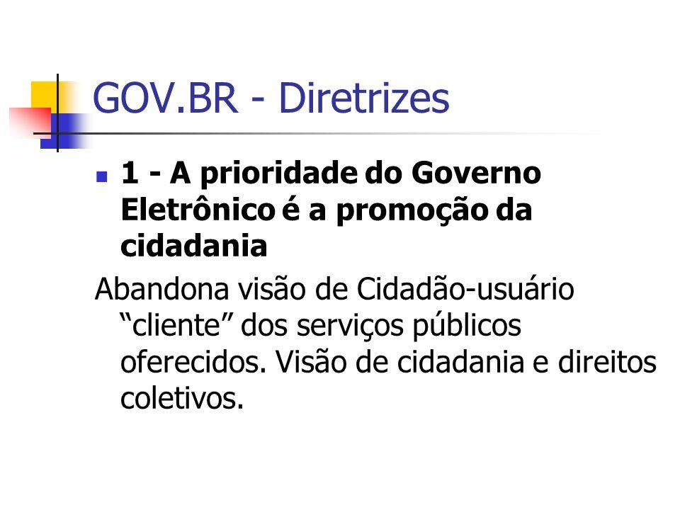 GOV.BR - Diretrizes 1 - A prioridade do Governo Eletrônico é a promoção da cidadania.