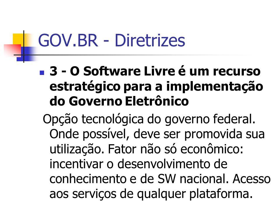 GOV.BR - Diretrizes 3 - O Software Livre é um recurso estratégico para a implementação do Governo Eletrônico.