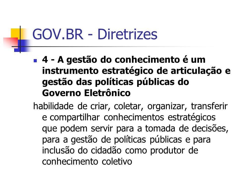 GOV.BR - Diretrizes 4 - A gestão do conhecimento é um instrumento estratégico de articulação e gestão das políticas públicas do Governo Eletrônico.