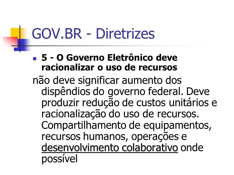 GOV.BR - Diretrizes 5 - O Governo Eletrônico deve racionalizar o uso de recursos.