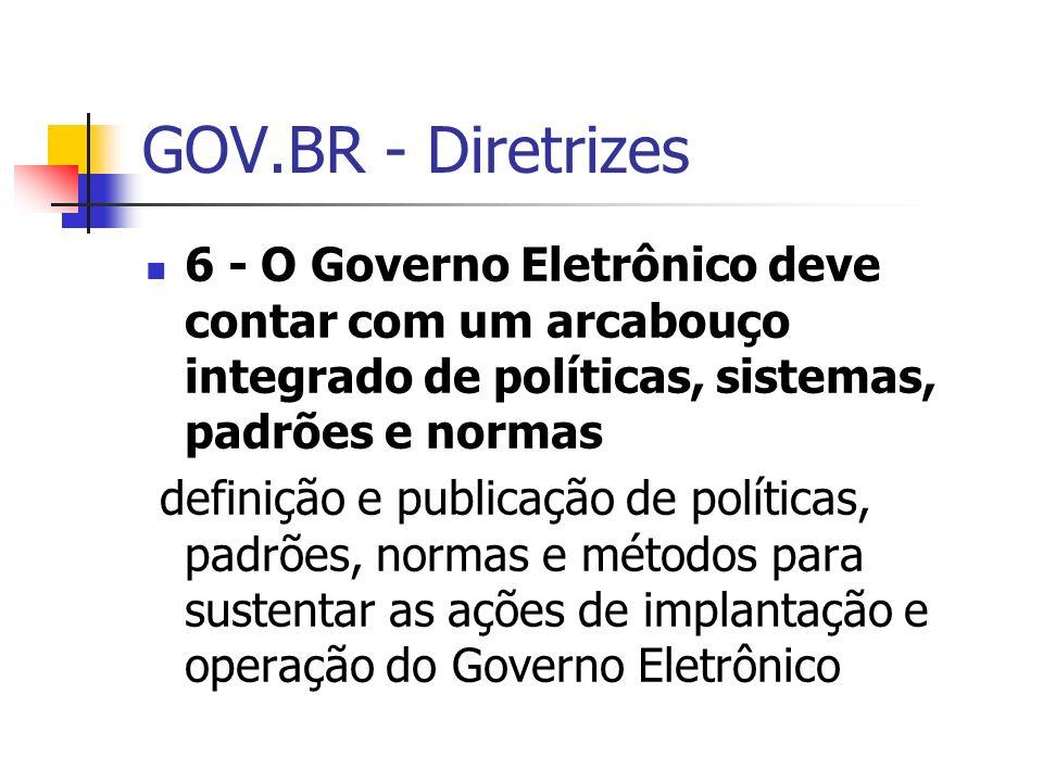 GOV.BR - Diretrizes 6 - O Governo Eletrônico deve contar com um arcabouço integrado de políticas, sistemas, padrões e normas.