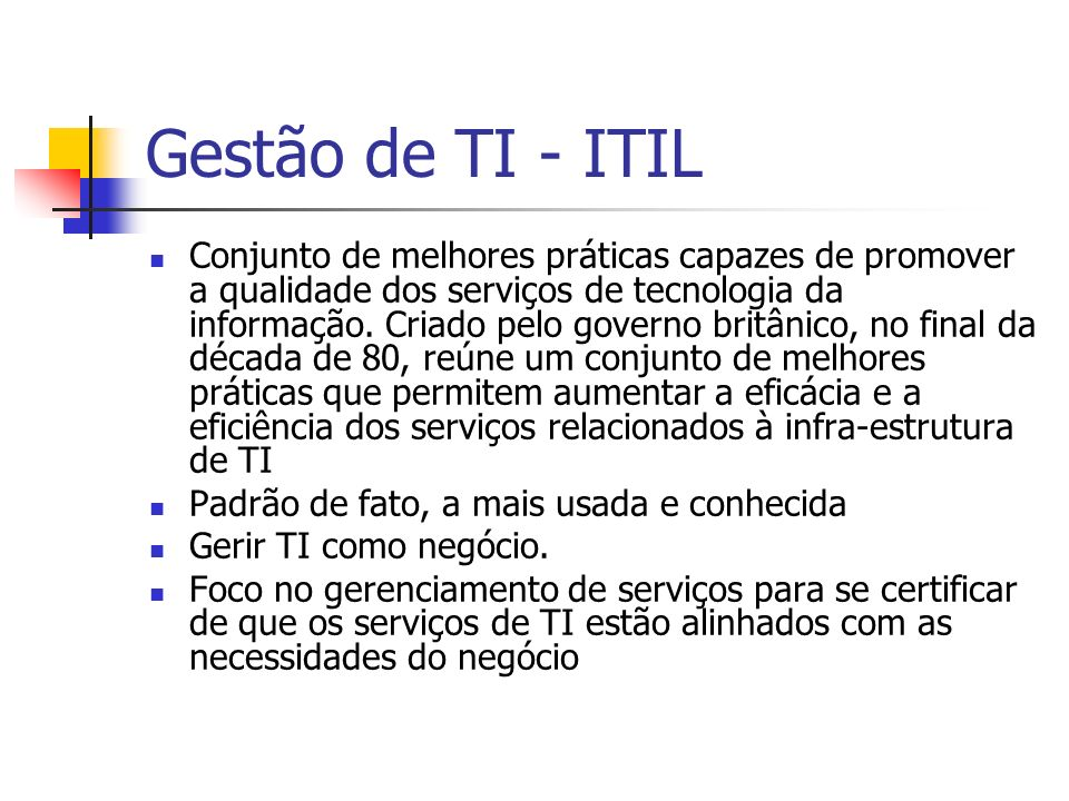 Gestão de TI - ITIL