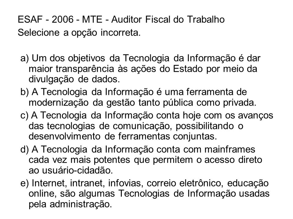 ESAF - 2006 - MTE - Auditor Fiscal do Trabalho