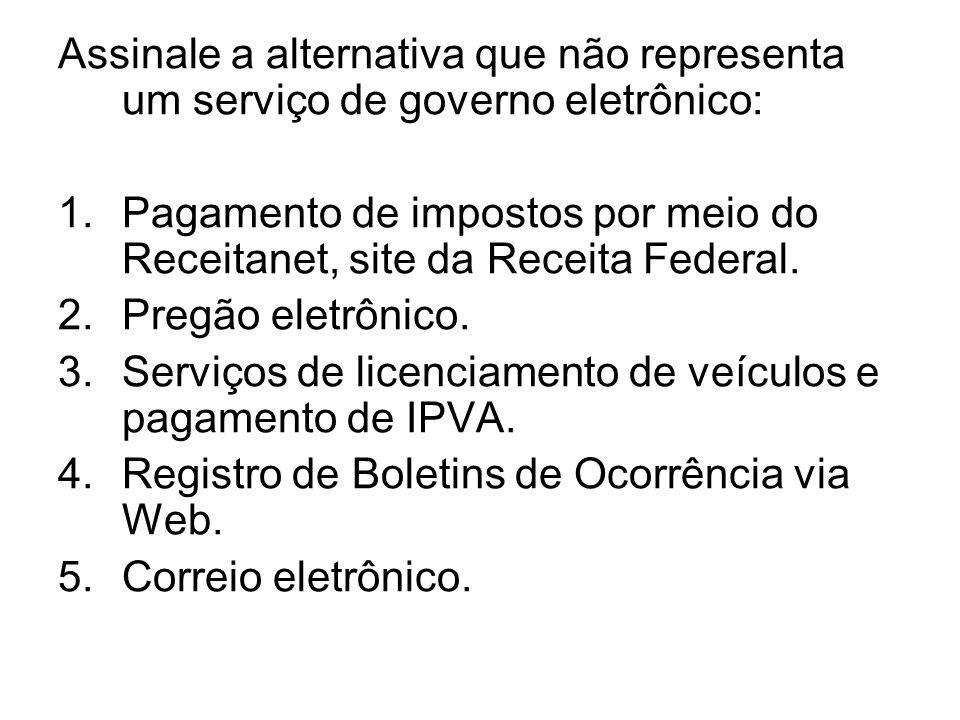 Assinale a alternativa que não representa um serviço de governo eletrônico: