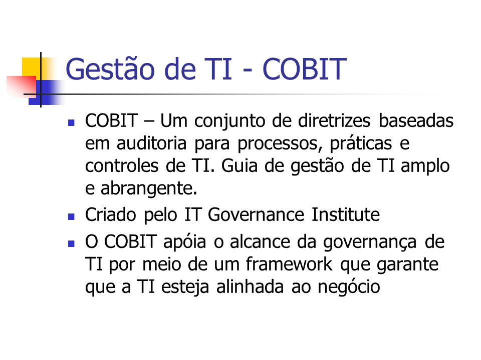 Gestão de TI - COBIT