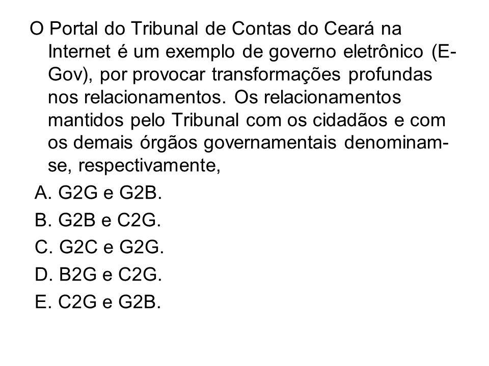 O Portal do Tribunal de Contas do Ceará na Internet é um exemplo de governo eletrônico (E-Gov), por provocar transformações profundas nos relacionamentos. Os relacionamentos mantidos pelo Tribunal com os cidadãos e com os demais órgãos governamentais denominam-se, respectivamente,
