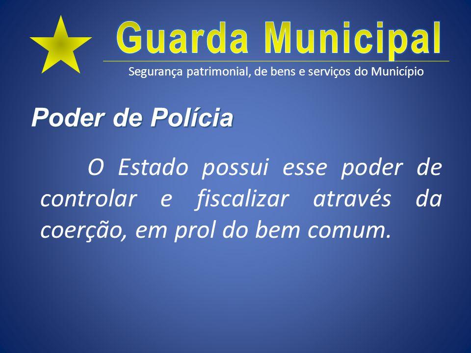 Poder de Polícia O Estado possui esse poder de controlar e fiscalizar através da coerção, em prol do bem comum.