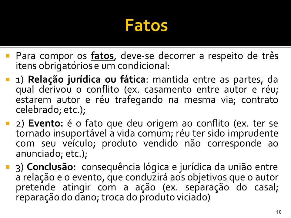 Fatos Para compor os fatos, deve-se decorrer a respeito de três itens obrigatórios e um condicional: