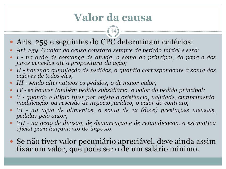 Valor da causa Arts. 259 e seguintes do CPC determinam critérios: