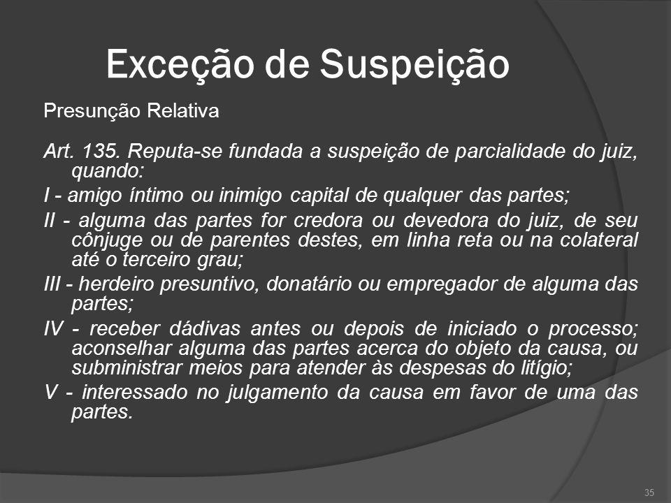 Exceção de Suspeição Presunção Relativa