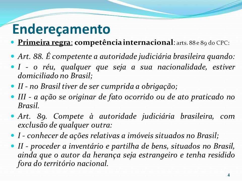 Endereçamento Primeira regra: competência internacional: arts. 88 e 89 do CPC: Art. 88. É competente a autoridade judiciária brasileira quando: