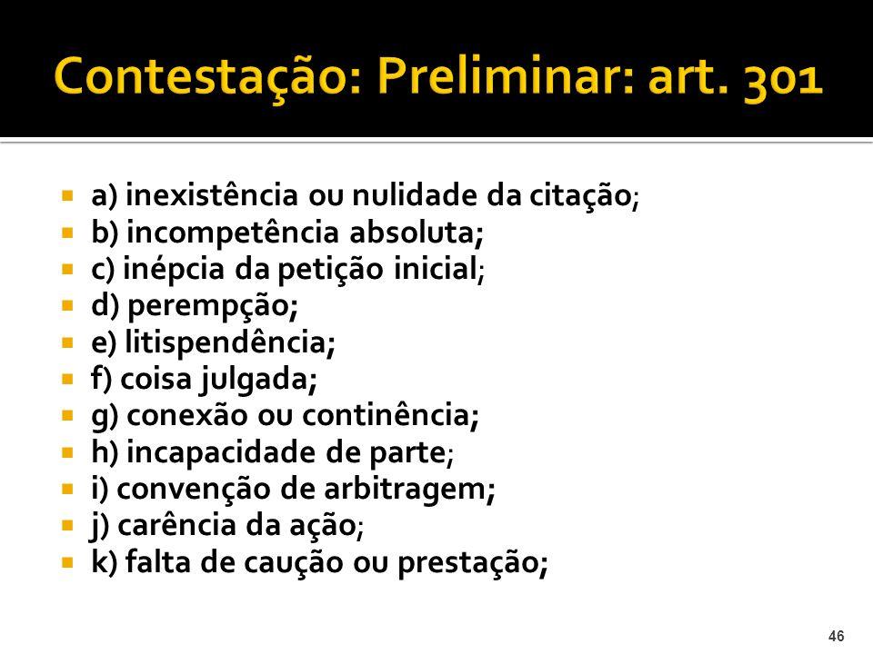 Contestação: Preliminar: art. 301