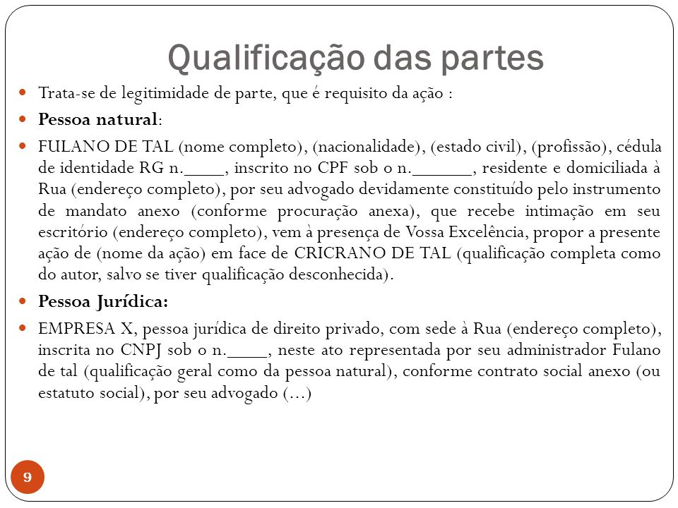 Qualificação das partes