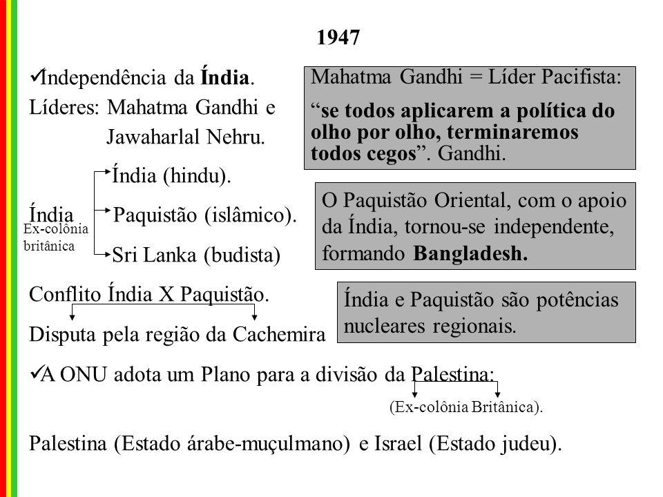 Independência da Índia. Líderes: Mahatma Gandhi e Jawaharlal Nehru.