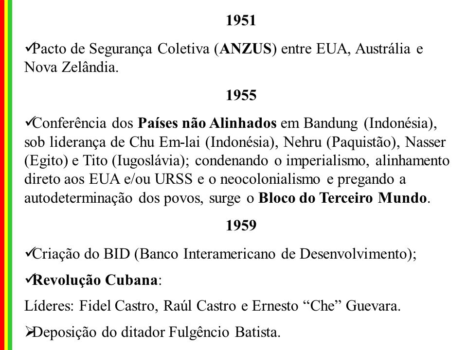 1951 Pacto de Segurança Coletiva (ANZUS) entre EUA, Austrália e Nova Zelândia. 1955.