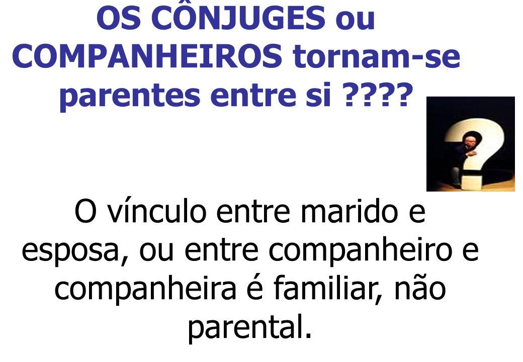 OS CÔNJUGES ou COMPANHEIROS tornam-se parentes entre si