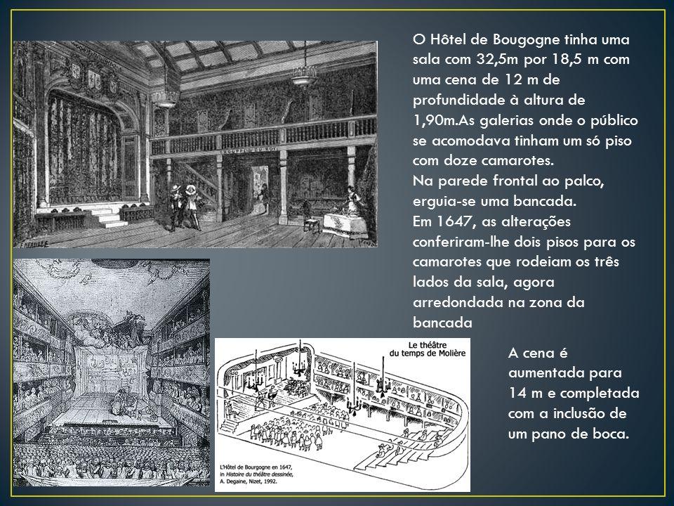 O Hôtel de Bougogne tinha uma sala com 32,5m por 18,5 m com uma cena de 12 m de profundidade à altura de 1,90m.As galerias onde o público se acomodava tinham um só piso com doze camarotes.