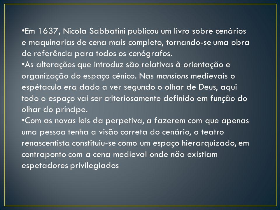 Em 1637, Nicola Sabbatini publicou um livro sobre cenários e maquinarias de cena mais completo, tornando-se uma obra de referência para todos os cenógrafos.