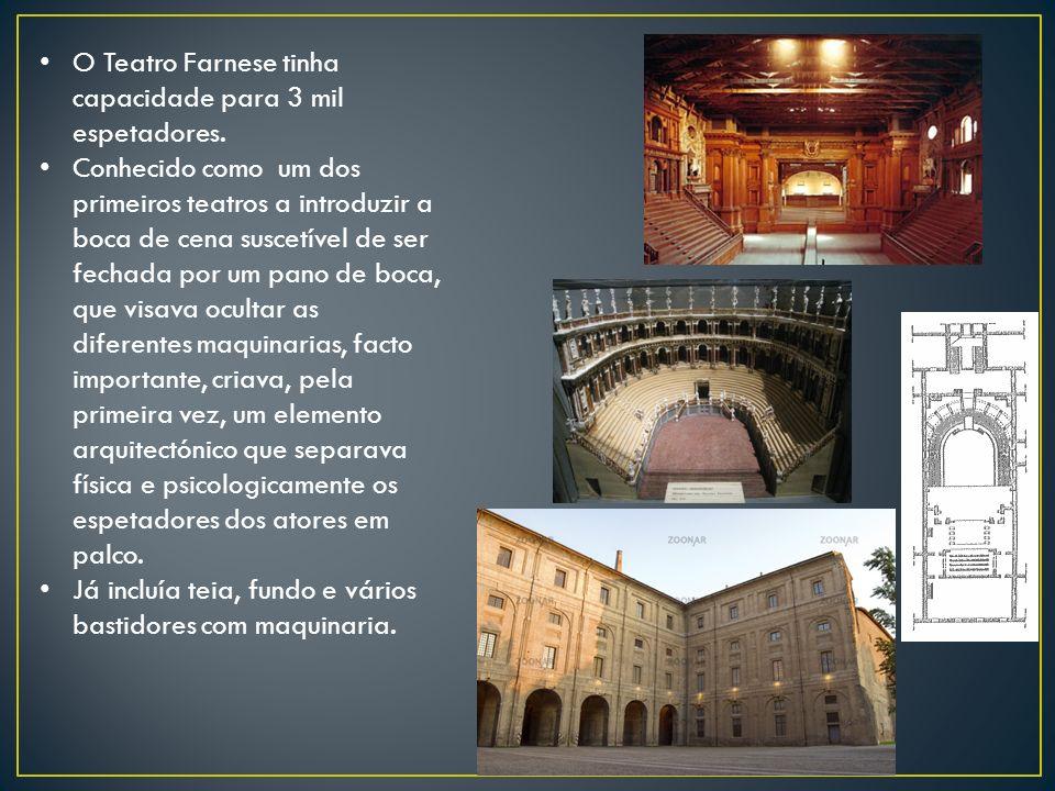 O Teatro Farnese tinha capacidade para 3 mil espetadores.