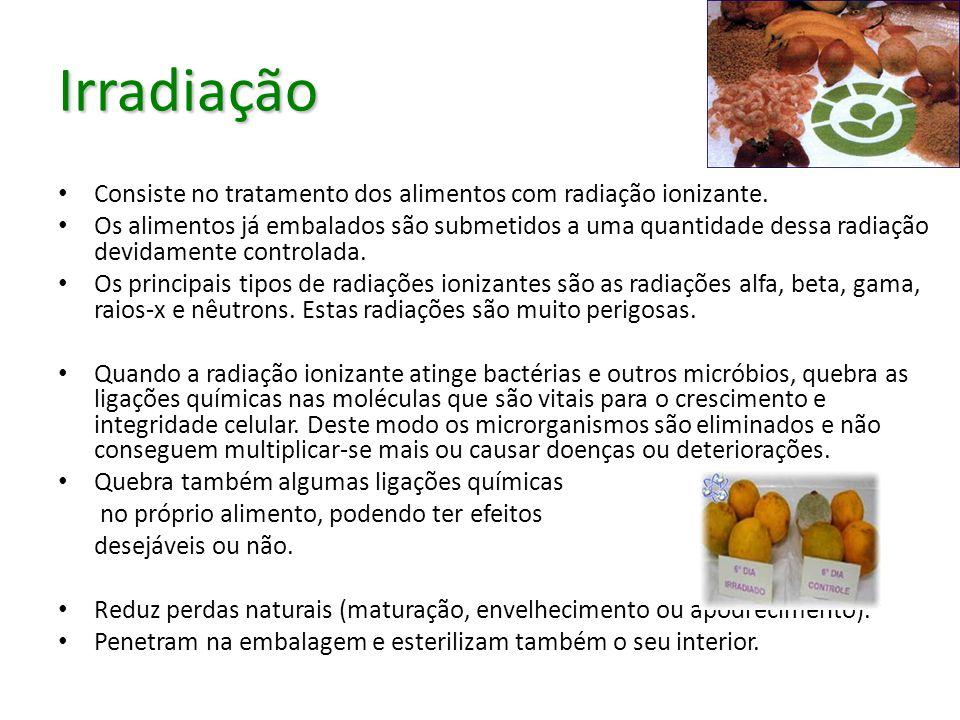 Irradiação Consiste no tratamento dos alimentos com radiação ionizante.