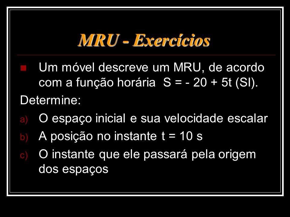 MRU - Exercícios Um móvel descreve um MRU, de acordo com a função horária S = - 20 + 5t (SI). Determine: