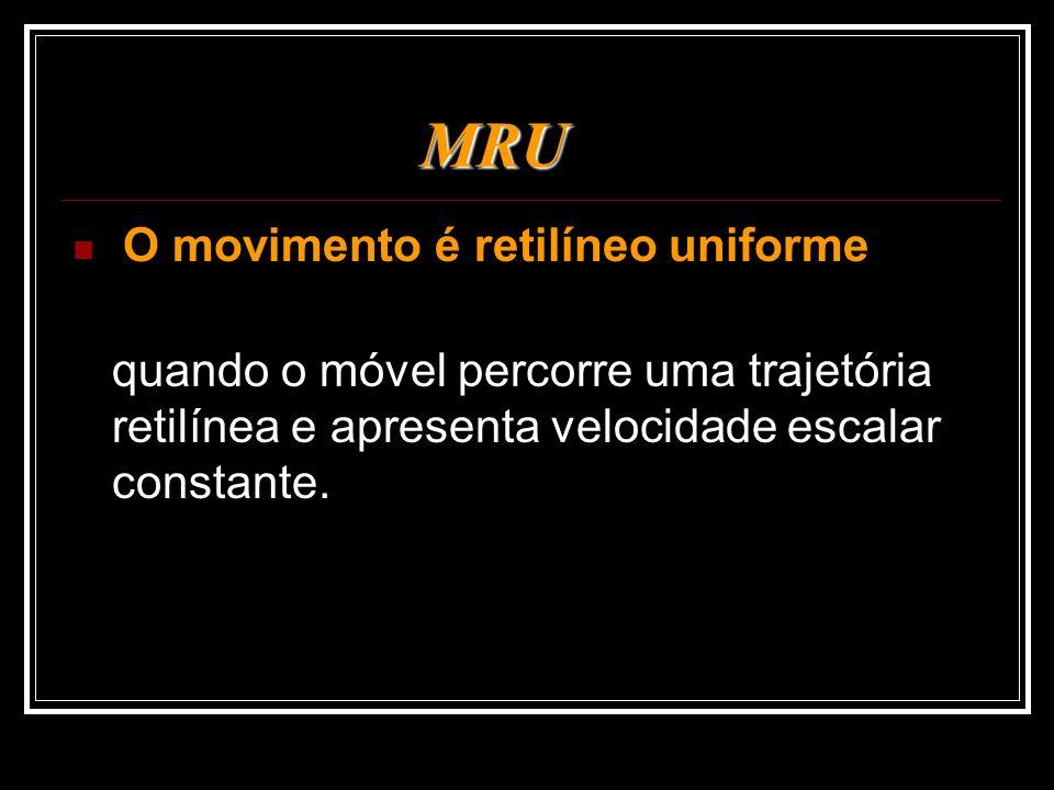 MRU O movimento é retilíneo uniforme