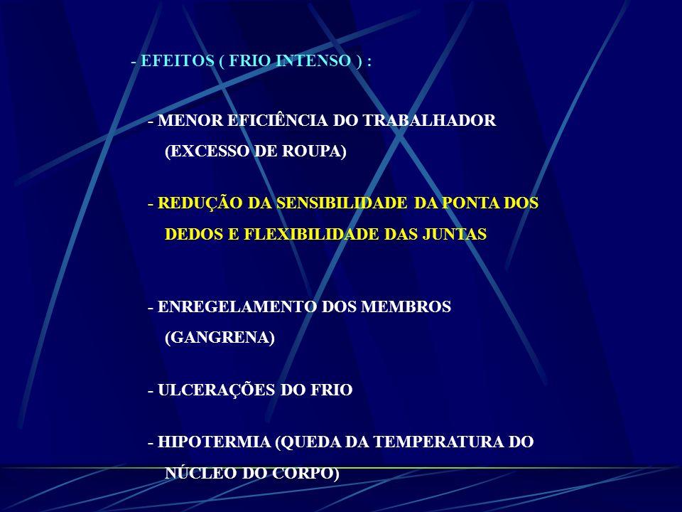 - EFEITOS ( FRIO INTENSO ) :