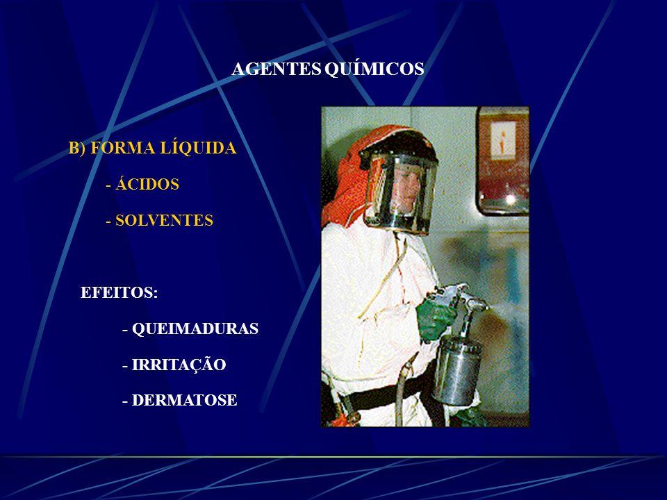 AGENTES QUÍMICOS B) FORMA LÍQUIDA - ÁCIDOS - SOLVENTES EFEITOS: