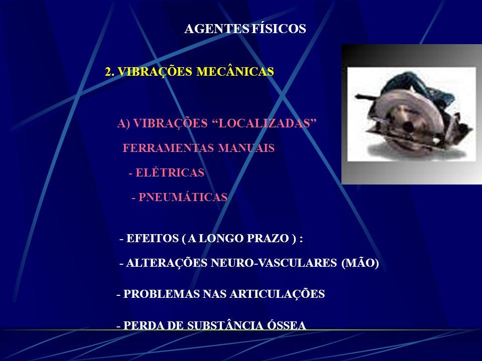 AGENTES FÍSICOS 2. VIBRAÇÕES MECÂNICAS A) VIBRAÇÕES LOCALIZADAS