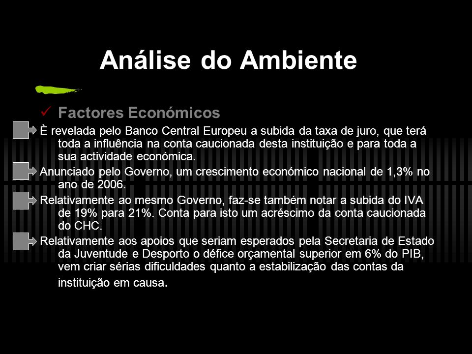 Análise do Ambiente Factores Económicos