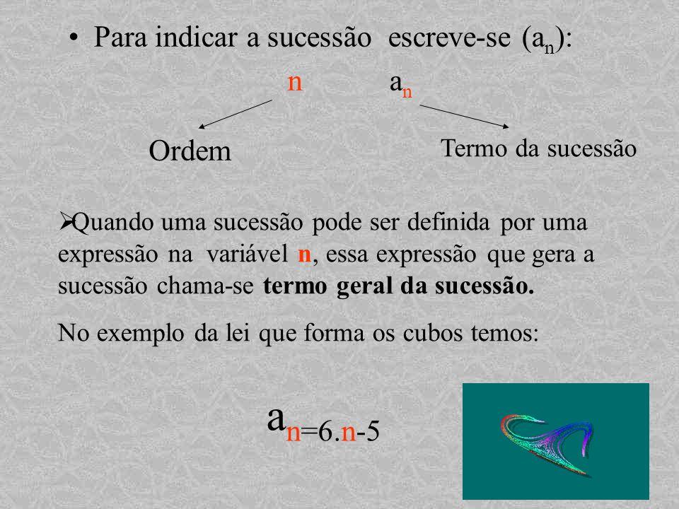 an=6.n-5 Para indicar a sucessão escreve-se (an): n an Ordem