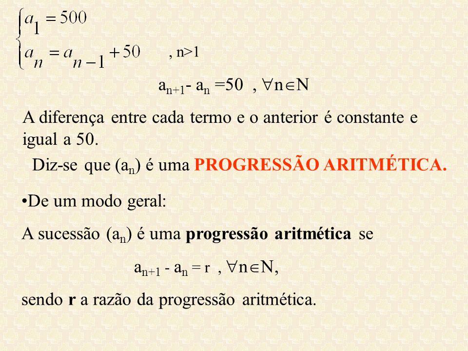 A diferença entre cada termo e o anterior é constante e igual a 50.