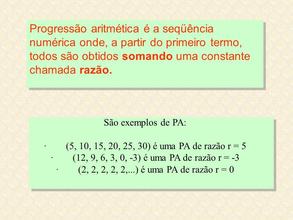 · (12, 9, 6, 3, 0, -3) é uma PA de razão r = -3